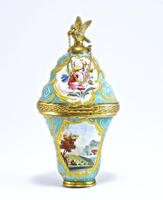English Battersea Enamel scent bottle and Bonboniere, w/floral & pastoral motifs (minor crazing, one small glaze loss), gilt metal mounts and figural stopper with chain, c.1780 ♥≻★≺♥