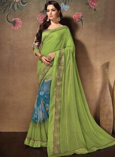 61fe09cb85 Young and vivacious is the perfect description for this green and off white  cotton silk georgette half n half sari. This engaging saree is displaying  some ...