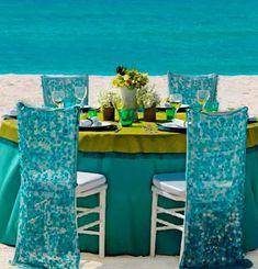 Decoração de casamento azul tiffany e verde na praia do Cancun Palace Resorts