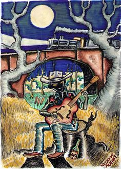 Wes Freed painting of Hank Williams playing under the train tracks - Don't you hear that lonesome whistle blow? Southern Gothic, Concert Posters, Music Posters, Poster Prints, Art Prints, Art Music, Black Art, Picture Photo, Art Drawings