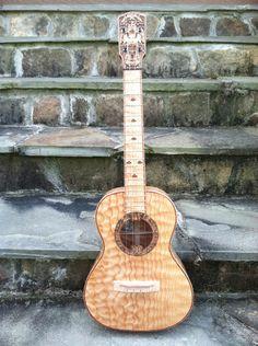 New moon Aztec Tenor #LardysUkuleleOfTheDay ~ https://www.pinterest.com/lardyfatboy/lardys-ukulele-of-the-day/ ~