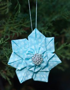Fabric flower star ornament PDF e-book how to make a brooch or hair bow - the Jasmine Star Flower