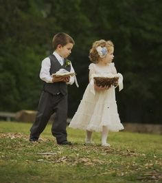 Cutest flower girl and ring bearer @The Frosted Petticoat: Baby's Breath in the Barn