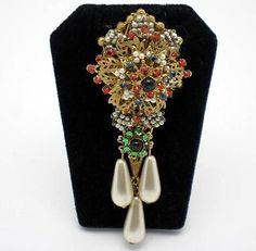 STANLEY HAGLER N.Y.C. Brooch Rhinestone Seed Pearl Hand Wired Dangle Pin