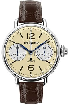 Bell & Ross Vintage WW1 $6,000 #Bell #watch #watches #chronograph steel case crocodile skin bracelet
