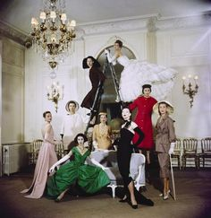 Dior models wearing S/S 1957 collection by Cecil Beaton.
