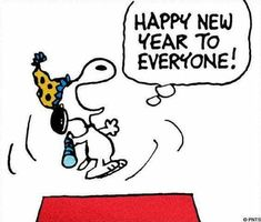 Happy New Year Everyone! Snoopy Happy New Year, Snoopy Love, Happy New Year Everyone, Snoopy And Woodstock, Snoopy Comics, Fun Comics, Cartoon Dog, Cartoon Pics, Snoopy Cartoon