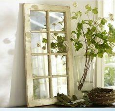 old window frame, mirror plates. Window Pane Mirror, Window Frames, Window Art, Pottery Barn Look, Pottery Bard, Creation Deco, Old Windows, Barn Windows, Furniture Upholstery
