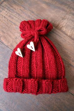 Cranberry Knit Baby Hat with Wooden Heart by institchesknits, $15.50
