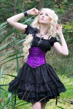 Gothic Dress and Purple Corset by Maria Amanda Gothic Girls, Hot Goth Girls, Gothic Outfits, Gothic Dress, Gothic Lolita, Steampunk Fashion, Gothic Fashion, Gothic Steampunk, Steampunk Clothing