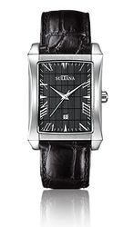 Model 378102 Mens Sultana watch Black leather and stainless steel Black Leather, Stainless Steel, Jewels, Watches, Model, Accessories, Bijoux, Clocks