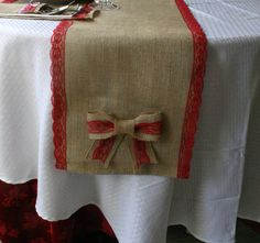 Christmas Burlap table runner - use something red other than lace