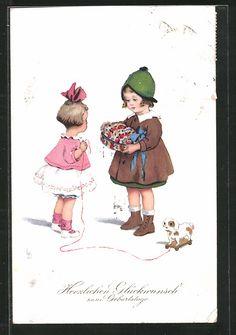 carte postale ancienne: CPA Illustrateur Lia Döring: Glückwunsch zum Geburtstage, kleine Freundinnen