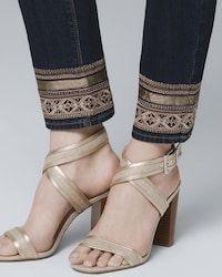 Women's Petite Embellished-Hem Straight Crop Jeans by White House Black Market Diy Jeans, Jeans Refashion, Lace Jeans, Crop Jeans, Denim Fashion, Fashion Pants, Fashion Shoes, Fashion Dresses, Womens Fashion