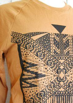 Xochitl  Unisex tribal aztec Sweatshirt in Camel and by barkdecor, $55.00
