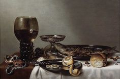 """Still Life with Roemer and a clock [Still life with a roemer and watch]"" Oil on board, 46 x 69.2 cm., 1629. Royal Picture Gallery Mauritshuis (The Hague, Netherlands)"