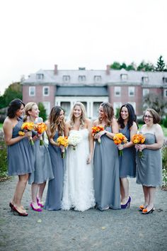 Love how all the bridesmaids are wearing the same color/tone, but totally different styles!
