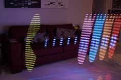 Long-exposure light painting photo of Pac Man in my living room. Created using a string of LEDs controlled by a Raspberry Pi and remore-controlled robot.