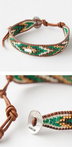 beaded bracelet and leather cording… CHANLUUアクセサリーブレスレット(GRNGOLDMIXグリーン)