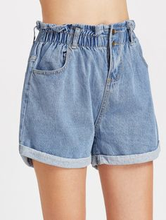 Shirred Elastic Waist Rolled Hem Denim Shorts -SheIn(Sheinside)
