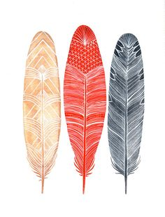 (via Watercolor Feather Painting Feathers Art Archival by RiverLuna)