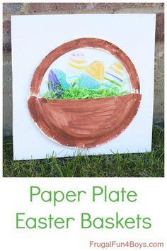 Paper Plate Easter Basket Craft for Kids