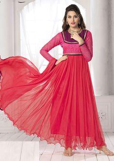 USD 28.06 Red Net Ankle Length Anarkali Suit 55922