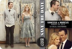 Save the Date Magnets City Collage - Front : Gunmetal