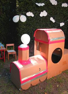 "TRAIN ""BOX"" CARS, lol--build cardboard train and let kids decorate at party (could also use our current ATW wagons for ""box"" cars)  for train birthday party"
