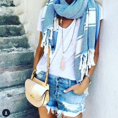 That scarf....Gorgeous shades of Blue