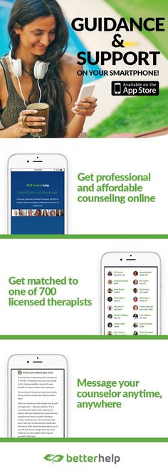 Is it time to talk to someone? Download BetterHelp to receive professional, affordable counseling from your computer, tablet or mobile phone. You'll be connected online with a licensed, caring and experienced counselor. Make the life-changing decision to get better help and start your free trial today.