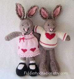 Hand Knit Easter Bunny Stuffed Animal - Hand Knitted Toy Rabbit - Children Spring Soft Knit Toy (Ready to Ship). $65.00, via Etsy.