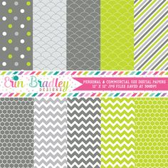 Lime and Charcoal Digital Paper Pack – Erin Bradley/Ink Obsession Designs