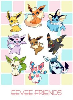 Pokemon Eevee and its evolutions chibified Pokemon Go, Pokemon Eeveelutions, Digimon, Pet Anime, Pokemon Pictures, Catch Em All, Videogames, Nerdy, Cartoon