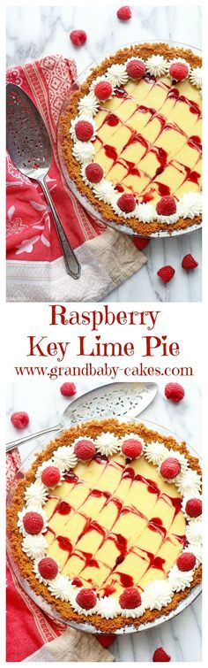 Raspberry Swirled Key Lime Pie- so easy and delicious! Perfect for Spring Holidays! ~ http://www.grandbaby-cakes.com
