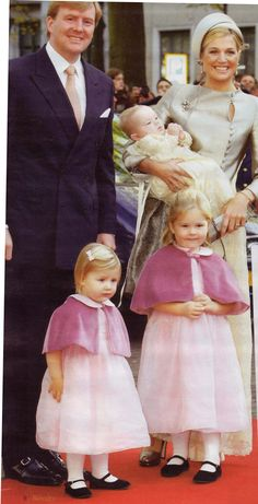 (Then) Crown Prince Willem Alexander, Princess Maxima and the 3 princesses for the ceremony of christening of Princess Ariana.