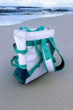 A beach backpack allows you to carry your gear on your back so that you can easily ride your bike to the beach. #beachbackpack Clear Beach Bag, Large Beach Bags, Large Tote, Beach Backpack, Tote Backpack, Beach Tote Bags, Scout Bags, Cute Canvas, Beach Toys