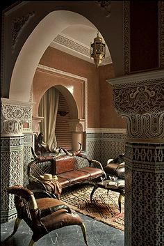 Living room area. La Sultana hotel, Marrakech, Morocco