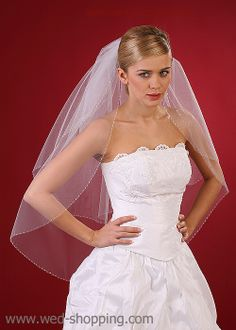 Bridal Veil with  silver straw