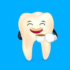 Tooth character drinking coffee. Dental care concept, illustration isolated on blue background.