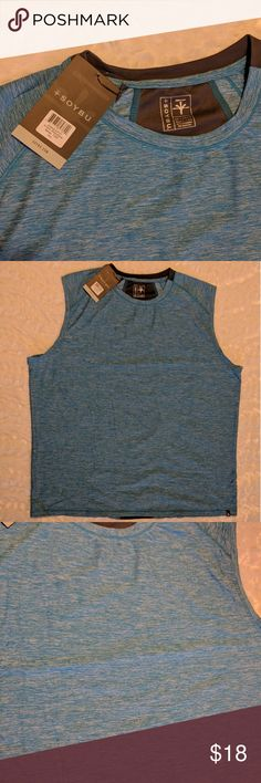 Soybu Men's Kinetic Sleeveless Athletic Top NWT, note, this is something that is still available to order online! Brand is Soybu. Color is called Belize, it is a heathered sky blue. Fabric is called Dri-Force, breathable, sleeveless fabric. Approximate flat lay measurements: armpit to armpit is 25 inches, top of shoulder to bottom of hem is 30 inches. Soybu Shirts Tank Tops