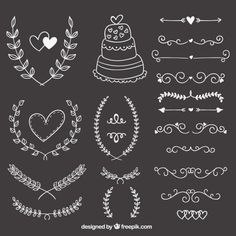 Free vector Hand drawn wedding ornaments on blackboard Chalk Art Blackboard Chalk art restaurant Drawn Free Hand ORNAMENTS Vector wedding Chalkboard Doodles, Blackboard Art, Chalkboard Designs, Blackboard Wedding, Doodle Drawing, Doodle Art, Vector Hand, Vector Free, Chalk Lettering