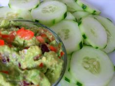 Easy guilt free, low carb snack!   Substitute tortilla chips for cucumber slices and dip in spicy guacamole!