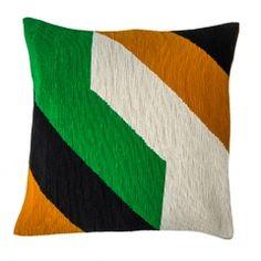 Geometric Corded Cushion Cover Green & Tan