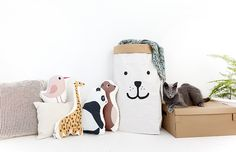 Adorable animal cushions - they're perfect for kids rooms!