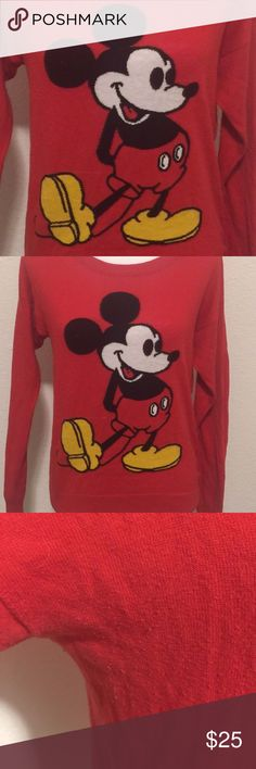 """Disney Mickey Mouse Red Sweater Size Large Some light pilling  Armpit to armpit laid flat across: 20""""  Lengths: 23""""  If you have any questions please feel free to ask.  Thank you. Disney Sweaters Crew & Scoop Necks"""