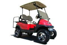 Certified Pre-Owned/Used Lifted 4 Passenger Golf Cart Lifted Golf Carts, Used Golf Carts, Custom Golf Carts, Off Road Golf Cart, Certified Pre Owned, Garage Design, Club, Red, Life