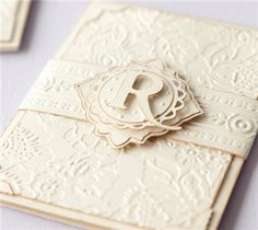 "Like this one a lot...imagine the effect this would have on the lucky couple when they see their monogram custom made for them on their wedding day... Anna Griffin Wedding Card Invite - Cricut Shop Cuttlebug® A2 Swiss Dots Emboss Folder  Cricut Cuttlebug™ 5"" x 7"" Embossing Folder  Border, Poppy"
