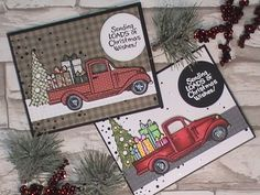 2 Christmas Cards with the Stampendous Truck Tidings Stamp Set Hello, I hope you having a great weekend:) Today I created 2 cards with this adorable stamp set called truck Tiding from Stampendous.…