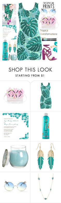 """Hot Tropics"" by grozdana-v ❤ liked on Polyvore featuring Monsoon, COOLA Suncare, Accessorize, MLC Eyewear, Karen Kane, Schutz, Victoria's Secret, tropicalprints and hottropics"